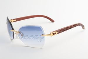 Diretto gamba in legno di pero naturale di occhiali da sole maschili e femminili di moda occhiali da sole senza montatura da sole 8.300.818 ipotenusa 60-18-135mm