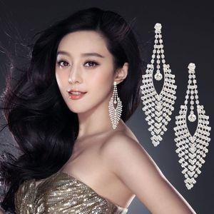 Nouveau grandes boucles d'oreilles de luxe Autriche Cristal Clip sur Big Long Tassel Boucles d'oreilles sans trou Mélange Mélange Dangle Knot Grossal Bijoux Bijoux DHL