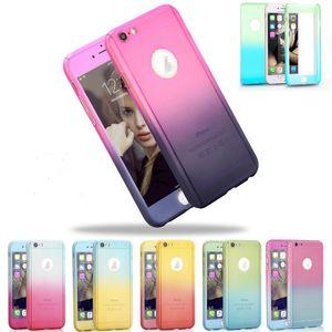 Gradient Color Case Full Body Couverture de 360 Degrés Avec Verre Trempé Protecteur D'écran Pour iPhone 7 7plus 6 6plus Avec Emballage