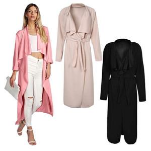 2017 Herbst Mode Frauen Öffnen Stich Mantel Trenchcoats Plus Size Fashion Langarm Trench Windbreaker