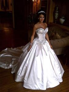 Ivoire bling pnina tornai robes de mariée 2018 robe de bal chérie cathédrale cristal brillant cathédrale longue train robe de mariée