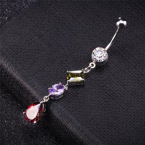 Mujeres atractivas ombligo ombligo botones anillo borbell largo borlas colorido bola de cristal piercing cuerpo joyería ombligo anillo para niñas mujeres BR-273