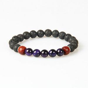 Nouveau Designs Mens Bijoux En Gros 10pcs / lot 8mm Lava Rock Stone Avec 5 Couleurs Oeil De Tigre Perlé Perles Amoureux Bracelets