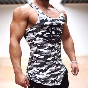 Wholesale-  Sexy Men's Tank Top Fitness Stringer Casual Vest T shirts Sleeveless Undershirts Mens Singlets Male Clothes