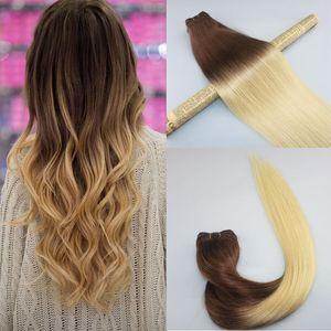 Cheveux Humains Tissage Ombre Colorant Brésilien Cheveux Vierges Trame Bundle Extensions Deux Tons 4 # Brun À # 613 Blondé Blonde