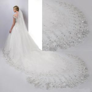 4 metri cattedrale lunghezza velo da sposa bianco avorio pizzo applique paillettes bordo con pettine velo da sposa accessori da sposa CPA887