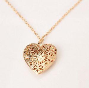 Toptan-Yeni Moda Kadınlar Hollow Altın Gümüş Kalp kolye Uzun Zincir kolye Triko Kolye ile kolye İçin Kadınlar