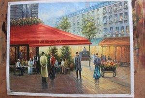 Città con cornice Street view, Pure Handcraft Landscape art Pittura a olio su tela di alta qualità per decorazioni da parete in diverse dimensioni