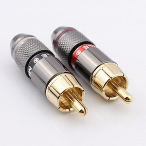Free shipping High quality gold plating RCA connector RCA male plug support 6mm cable 4pcs lot
