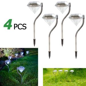 Edison2011 4pcs / lot Diamonds Waterproof Outdoor LED de Energia Solar Lawn lâmpada LED Luz Solar Spot lâmpada para decoração de jardim