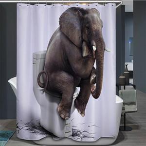 코끼리 화장실 샤워 커튼 욕실 장식 재미 있은 동물 방수 폴리 에스터 직물 홈 목욕 패션 액세서리 커튼 70 X 70 인치