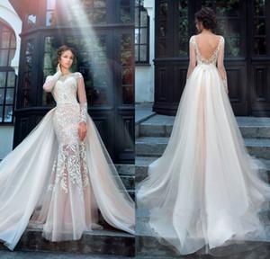 Chic Tüll Brautkleid Exquisite Stickerei 2017 Oansatz 2 In 1 Abnehmbarem Zug Meerjungfrau Hochzeitskleid Anpassen Plus Größe