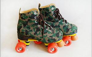 6-23 ans patines de camouflage patiner 4 en cuir double 2 patinage de vitesse hommes femmes adultes zapatillas con ruedas patin 35-45