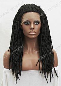 Iwona Saç Örgü Uzun Siyah Peruk W-7190C1B Yüksek kaliteli Isıya Dayanıklı Sentetik Dantel Ön Peruk