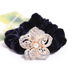 Mode coréenne fleurs cristal tissu velours élastique bandeau ornements solide cheveux poney tails titulaire coiffe