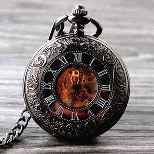 도매 -2015 새로운 멋진 손 바람 기계식 포켓 시계 해골 시계 패션 남자 시계 빈티지 포켓 시계