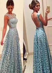 Vestidos de noite do laço do vintage 2017 sem encosto com arco faixa gelo azul robe de soirée sexy partido do baile de finalistas vestidos com apliques personalizado
