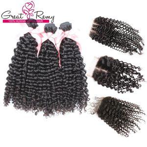 브라질 버진 헤어 위브 구매 3Bundles Curly Get 1pc Top Closure (4 * 4) Free / Middle / 3 Part Curly 헤어 익스텐션 Great Remy Factory Outlet