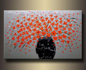 Encadré, beaucoup de gros, belle nature morte fleurs de bonsaï, peinture à l'huile sur toile Pure Handcraft art Lin lin multi