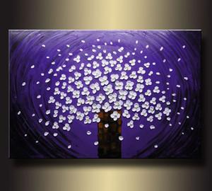 Encadrée, beaucoup de gros, belle nature morte bonsaï fleurs, Pure Handcraft art peinture à l'huile sur toile Lin coton Multi tailles, R203 #