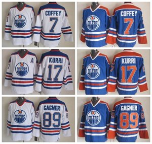 저렴한 7 Paul Coffey 저지 Edmonton Men 89 Sam Gagner 17 Jari Kurri 아이스 하키 빈티지 CCM Blue White 스티치 로고 Best Quality