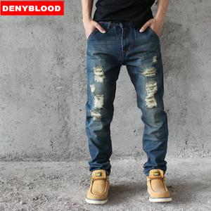 Großhandels-2016 Mens Distressed Jeans zerrissene lose Hosen Darked Wash Jeans männlichen Loch Baggy Vintage Denim Cargo Casual Hosen HC512