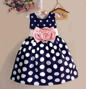 Big Polka Dot Dress Girls White Black Bow Belts Sash Designs Vestidos de verano para niños de 3t a 8t