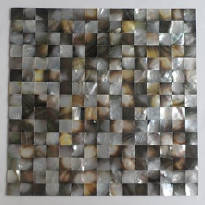 [FREE SHIPPING] Natural color 20mm x 20mm mother of pearl shell mosaic , mesh backer, Blacklip shell tile, seamless ( MS150)