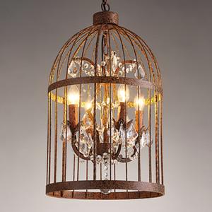 Luzes pingente criativo gaiola de cristal candelabro lâmpadas personalizado Americano Europeu lustres do vintage sala de estar loja café clube bar