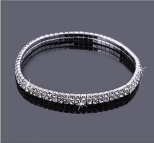 2 Ligne Sparkly cristal strass extensible Anklet chaud Soldes d'été Barefoot Beach Sandal cheville Chaîne de cheville bijoux pied pour les femmes
