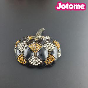 Halloween Costume Jewelry Crystal Black Happy Pumpkin Brooch Pin