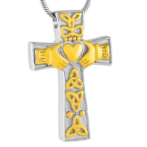 IJD8025 World Peace Croce in acciaio inossidabile ciondolo ciondolo collana tenere cuore commemorativo ceneri Keepsake urna collana