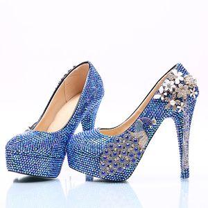 Azul Royal AB Sapatos De Vestido De Casamento De Cristal com Phoenix Mulheres Sapatos de Salto Alto para o Partido de Strass Sapatos de Noiva Cinderella Prom Bombas
