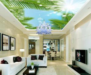 사용자 정의 3D 현대 천장 푸른 하늘과 흰 구름 월페이퍼 거실 3D ceiling murals wallpaper european