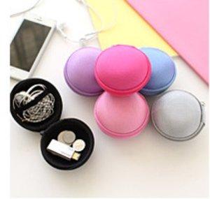 Zipper Bag Earphone Cable Mini Box SD Card Portable Coin Purse Headphone Bag Carrying Pouch Pocket Case Cover Storage nylon+EVA
