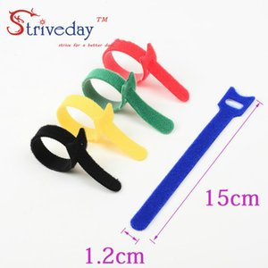 100pcs 5 Colors can choose Magic tape wiring harness tapes Cable ties Tie cord Computer cable Earphone Winder Cable ties DIY