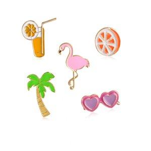 Мультфильм Фламинго кокосового дерева сок Солнцезащитные очки Orange Fruit Button Pins Броши Denim Jacket Pins Рубашка Badge Мода ювелирные изделия