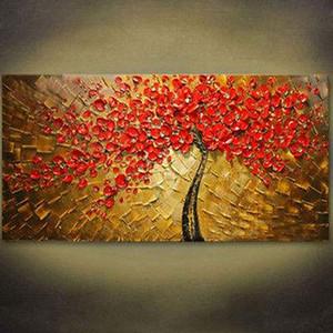 Envío libre enmarcado Pintura al óleo pintada a mano en la lona Decoración de la pared del hogar Art Landscape tree Paintings Los tamaños múltiples se pueden personalizar R069
