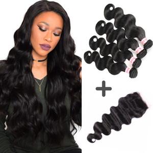 Brazilian Virgin Body Wave Hair Weaves Unprocessed Bundles And Closure Human Hair Bundle Lace Closure 3 or 4 Bundles With Closure
