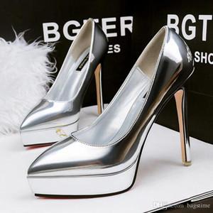 Boyutu 34-39 kadın Seksi Elbise Ayakkabı Stiletto Topuklu Su Geçirmez Platformu Ayakkabı Yuvarlak Toes Pompaları Toka 7 Renkler Parti Düğün Ayakkabı