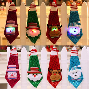 Adulti Bambini Paillettes regalo di favore LED Light Up cravatta cravatta luminosa lampeggiante Babbo Natale Elk per feste di Natale Club Bar Stadio