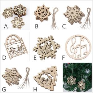 8 - 포장 된 나무 레이저 크리스마스 장식 크리스마스 장식품 야외 크리스마스 장식 나무 할로우 눈송이 산타 클로스 종 장식