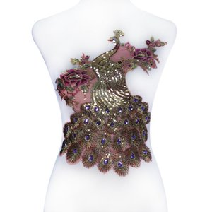 1 pezzo oro paillettes pavone patch in rilievo viola strass pizzo ricamo applique tessuto di pizzo motivo indumento fai da te T2247
