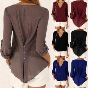 Femmes col en V à manches longues en mousseline de soie T-shirt d'été bouton Casual T-shirts en vrac Blouse en mousseline de soie Blouse 100pcs OOA3391
