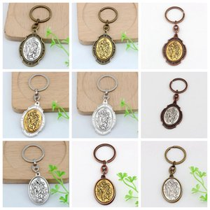 Hot ! 24pcs St. Christopher Keychain Medal Keychain motorcycle The Automobile-2 Inch Large Automobile Protection Keychain 12 Colors