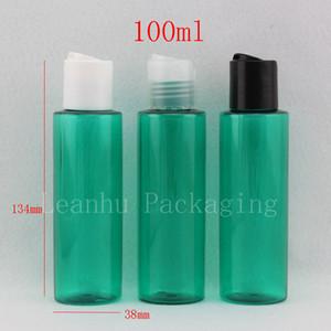 Оптовая 50 / лот 100 мл зеленый пластик круглый путешествия косметика бутылки небольшой лосьон контейнер с завинчивающейся крышкой, шампунь бутылки