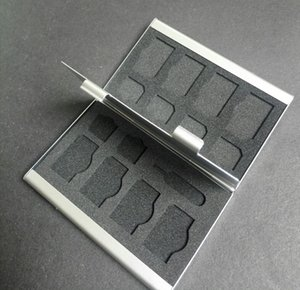 6 x Mikro Sim, 8 x Sim Kart ve 1 x İğne (Gümüş renk) için Alüminyum Bellek Kartı Çantası (Çift Taraflı)