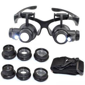 핫 10X 15X 20X 25X 돋보기 더블 LED 조명 눈 유리 렌즈 돋보기 루페 보석상 시계 수리 도구