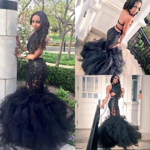 2020 Sexy Black Girl Robes de bal Dubai Halter Neck Cutaway Side Backless corsage en dentelle sirène hiérarchisé Jupes Party Robes de soirée ba2858