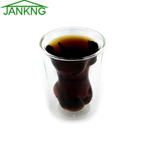 Wholesale- JANKNG 1Pcs Double Wall Glass Cup Creative Crystal Sexy Women Lady Cup For Whiskey Wine Vodka Home Drinking Ware Man Gift Cup